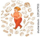 fat woman dreams of high... | Shutterstock .eps vector #129147953