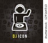 dj icons over black background. ... | Shutterstock .eps vector #129164513