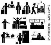 hotel services receptionist...   Shutterstock . vector #129166943