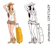 Tourist Woman With A Bag. Vector version is also available - stock photo