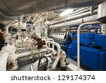 Submarine Heavy Machinery Space - Pipes, Valves, Engines - stock photo