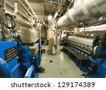 Ship's Engine Heavy Machinery Space - Pipes, Valves, Engines - stock photo