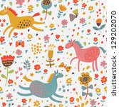 Joyful horses on flower field. Cute cartoon seamless pattern - stock vector
