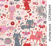 Funny cats in flowers. Cartoon vector seamless pattern - stock vector