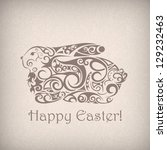 cute ornamental easter rabbit.... | Shutterstock .eps vector #129232463