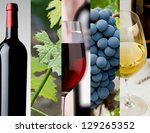 Horizontal arrangement of images depicting the wine industry - stock photo