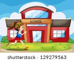 illustration of a girl in front ... | Shutterstock .eps vector #129279563