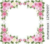 vintage roses frame. vector... | Shutterstock .eps vector #129290597