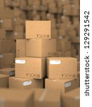 Stacks of Cardboard Boxes, Industrial Background. - stock photo