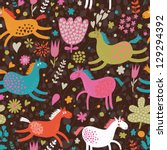Cute seamless texture with funny horses in flowers. Vector pattern for web-design, textile, graphic design. - stock vector