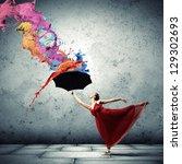 Ballet Dancer In Flying Satin...