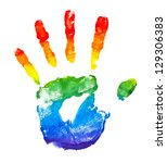 Rainbow painted hand shape isolated on white - stock photo