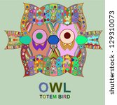 Vintage design with totem bird owl. Vector multicolored image - stock vector
