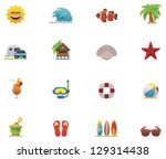 Vector beach icon set - stock vector