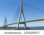 Stock photo international bridge linking portugal and spain over the guadiana river 129339917