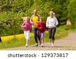 happy family with two girls... | Shutterstock . vector #129373817