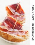 Jabugo ham tapas. First quality of spanish ham. - stock photo