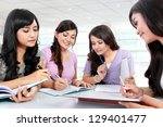 group of students studying in... | Shutterstock . vector #129401477