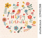 Beautiful happy birthday greeting card with flowers and bird. Vector party invitation with floral elements. - stock vector