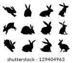 rabbit silhouettes | Shutterstock .eps vector #129404963