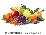 still life of fruit and berries ... | Shutterstock .eps vector #129411437