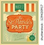Happy Saint Patrick's Day Party Poster - Vintage typography style background - stock vector