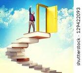 happy man on 3d book stair 3d | Shutterstock . vector #129422093