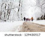 happy family winter fun... | Shutterstock . vector #129430517