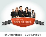 red template with a group of... | Shutterstock .eps vector #129434597