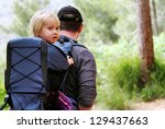 father hiking with kid on... | Shutterstock . vector #129437663