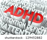 ADHD Concept. The Word of Red Color Located over Text of White Color. - stock photo