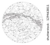 High detailed sky map of Northern hemisphere with names of stars and constellations vector - stock vector