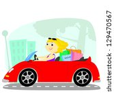 blonde rides on a red cabriolet ... | Shutterstock . vector #129470567