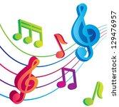 vector musical notes vector...   Shutterstock .eps vector #129476957