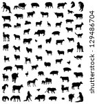 Big collection of silhouettes of animals of a farm - stock vector