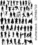 Big collection of silhouettes of people various specialties - stock vector