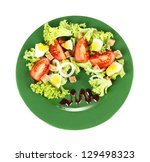 fresh mixed salad with eggs ... | Shutterstock . vector #129498323