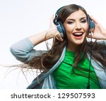 young woman with headphones... | Shutterstock . vector #129507593