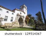 Historic courthouse entrance in Santa Barbara, California. - stock photo