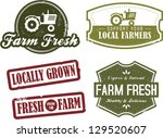 Fresh Farm Produce and Locally Grown Stamps - stock vector