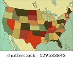 colorful and detailed usa map.... | Shutterstock . vector #129533843