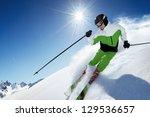skier in mountains  prepared... | Shutterstock . vector #129536657