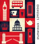 retro style poster with london... | Shutterstock .eps vector #129554543