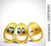 golden laughing easter eggs on... | Shutterstock .eps vector #129578393