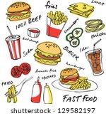 fast food hamburger vector set | Shutterstock .eps vector #129582197