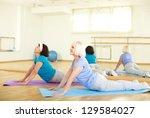 portrait of sporty females...   Shutterstock . vector #129584027