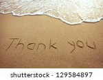 thank you  word drawn on the... | Shutterstock . vector #129584897