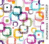 Seamless white pattern with colorful translucent uneven rectangles (EPS 10) - stock vector