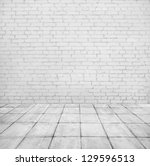 room interior with white brick... | Shutterstock . vector #129596513