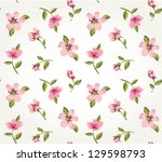 seamless pink vintage flower... | Shutterstock .eps vector #129598793